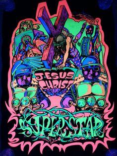 1971 Black Light Poster 420 Funky Artko Jesus Christ Superstar #Vintage