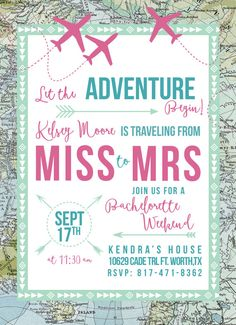 Traveling from Miss to Mrs! Throw a map-inspired travel theme bachelorette party for the bride-to-be. Purchase with or without the save the date.  All products are made to order, and fully customizable. Colors, wording and fonts can all be changed to achieve your needs.  This listing is for a customized 5x7 digital file. To have invitations printed, add this to your order: https://www.etsy.com/listing/399449965  You can now add a matching DIY envelope liner to your order! ...