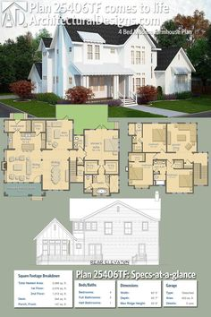 Architectural Designs Modern Farmhouse Plan 25406TF gives you 4 beds, 3.5 baths and over 3,300+ sq. ft. of heated living space. Ready when you are. Where do YOU want to build?
