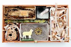 mano kellner, project 2013, kunstkiste nr 47, 100 % seidenband Art Boxes, Box Art, Small Art, Altars, Creative Inspiration, Shadow Box, Collage Art, Happy, Artist