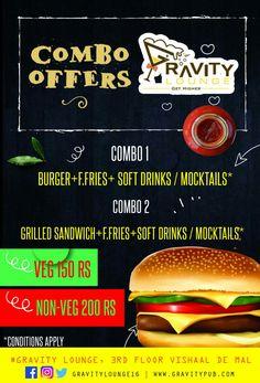 Enjoy the Combo offers @ #GRAVITY #LOUNGE, resto-bar #party #WBW #nightclub #bar