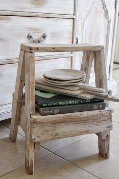 Burlap Luxe - cute white distressed bench