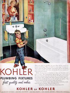 1953 Kohler of Kohler ad - green and white bathroom  (from #RetroReveries)