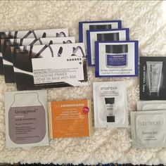 Ren, Ole Henricksen, Korres, Smashbox samples 13 amazing skin care samples!Korres quercetin & oak face primer $33 1oz this is .05oz x 3Ole henriksen sheer transformation oil free brightening moisturizer $14 .5oz this is .1oz x 3Living proof restore mask treatment $42 8oz this is .33ozLaura mercier flawless skin face polish $40 1oz this is .07oz x 2Ole henriksen truth serum collagen booster $48 1 oz this is .05ozPeter Thomas Roth firm peeling gel: $48 3.4oz this is .068ozRen $55 1.7oz this is…