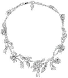 Dior Joaillerie diamond rose necklace. (Via Elle.)