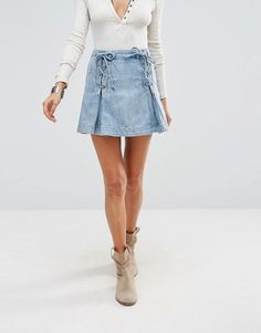 Free People   Джинсовая юбка со шнуровкой FreePeople