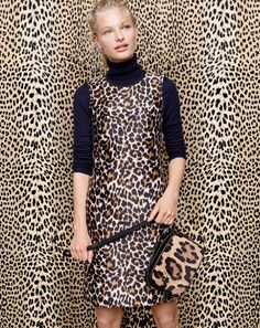 0f1ebfd6f099 A-line shift dress in leopard print