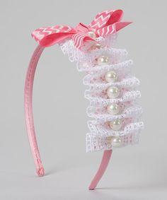 ClassyKidzShop White & Pink Lace Ruffle Pearl Bow Headband | zulily