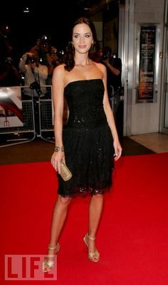 Emily Blunt - little black dress and hair