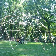 Geodome built with GEO Connectors 30 foot diameter for less than $200 https://www.kickstarter.com/projects/25645348/geo-the-geodesic-dome-connector