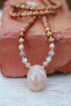 Peach Milky Moonstone Sandalwood Mala / Meditation Inspired Yoga Beads / mala beads BOHO chic