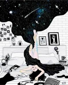 ✨Artist: Me, after my kid goes to bed. Making love to myself, wrapped up in my own universe, in THE universe, connecting to the Source of all that is in all my ways. Le Cri, Dream Night, Beautiful Dark Art, Beautiful Paintings, Pretty Images, Galaxy Art, Dope Art, Art Day, Art Inspo