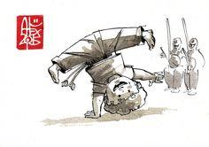 Illustration : Capoeira – 807 [ #capoeira #watercolor #illustration] aquarelle sur papier 300gr / watercolor on paper 300gr 10.5  x 14.8 cm / 4.1 x 5.8 in