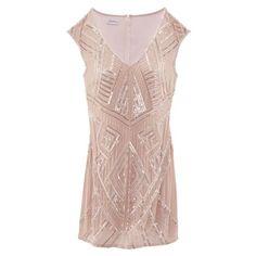 289€ Kleid mit Perlen Pailletten, Bestickt, V-Ausschnitt, elegant  Vorderansicht b55863175f