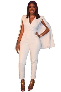 Doyerl Fashion Vintage Cloak One Piece Jumpsuit Sleeveless V-Neck Bodysuit White Blazer Rompers Women Overalls Elegant Playsuits Rompers Women, Jumpsuits For Women, Body Gola V, White One Piece, V Neck Bodysuit, Overalls Women, White Jumpsuit, Active Wear For Women, Look Cool