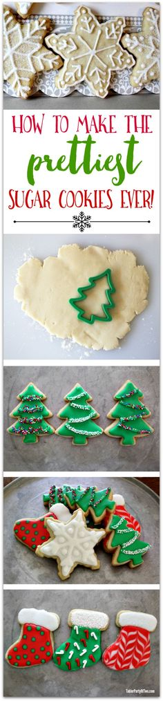 Now YOU can make the prettiest sugar cookies ever! AND they taste every bit as phenomenal as they look! Christmas Cooking, Christmas Foods, Christmas Treats To Make, Christmas Crafts, Christmas Desserts, Christmas Tree, Holiday Recipes, Christmas Recipes, Sable Cookies
