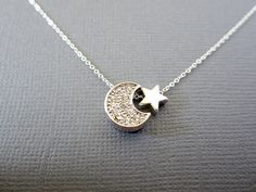 Star and Moon Necklace on 925 Sterling Silver chain by Muse411, $28.00