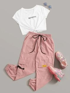 Casual styles 844002786406616565 - Multicolor Letter Graphic Knot Front Tee & Cargo Pants Set Source by cutespree Cute Lazy Outfits, Teenage Girl Outfits, Girls Fashion Clothes, Teen Fashion Outfits, Teenager Outfits, Swag Outfits, Retro Outfits, Cute Fashion, Stylish Outfits