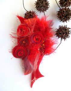 Fantasy XIX wearable fiber art pin in red tones by Cesart64