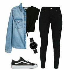 Denim shirt, h&m black tee, primark jeans, vans shoes all black fas Casual School Outfits, Cute Teen Outfits, Teenage Girl Outfits, Cute Comfy Outfits, Girls Fashion Clothes, Teenager Outfits, Teen Fashion Outfits, Outfits For Teens, Stylish Outfits