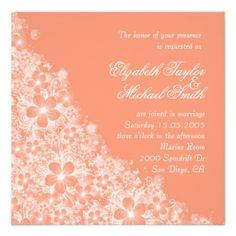 Luxury Coral Floral Spring Blanket Wedding Invite