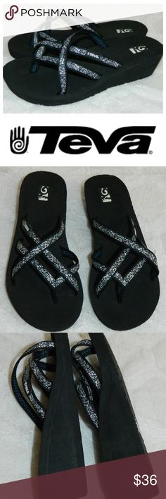 3650bb03cdd1 TEVA Mush WEDGE SANDALS Flip Flops STRAPPY Black 9 In gentle pre-owned  condition Teva