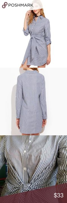 BASIC! Stripped T-shirt Dress Fashion 2017 Long Sleeve / Navy Striped / Bow Waist/  Shirt Dress. Fits S and M! Color as seen in third picture, the color may vary because of the light in pictures! Dresses Mini