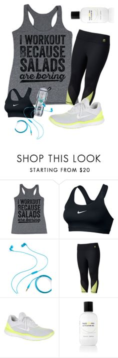 """""""Workout"""" by bisbug ❤ liked on Polyvore featuring NIKE, Brookstone, Fila, Face Gym and plus size clothing"""