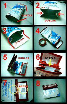 Cómo hacer una cartera con una caja de leche paso a paso