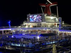 Night time lights on the lido deck