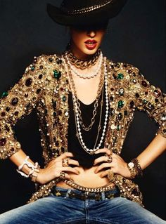 Total rock star style with the jeans and embellished jacket, love this