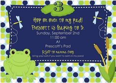 frog party invitation by A Blissful Nest, party design by Lana Wescott Events