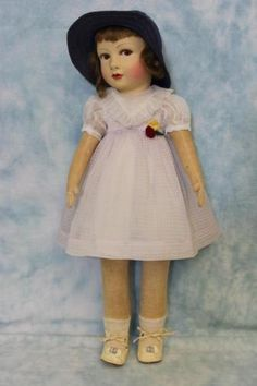 Vintage French Raynal Cloth Doll in Original Costume Edouard Raynal