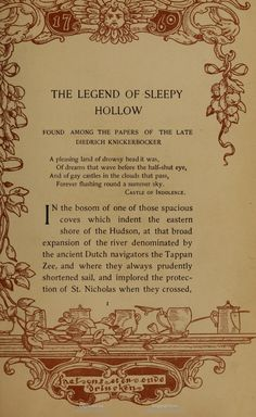 The text in this book is framed by several different block prints in different colors. The Legend of Sleepy Hollow, by Washington Irving. Borders are by Margaret Armstrong.
