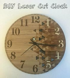 DIY Laser Cut Clock: We needed a clock for the MakerSpace, so of course we made one! Make A Clock, Diy Clock, Wooden Clock, Wooden Walls, 3d Printing Diy, Laser Cutting, Diy And Crafts, Workshop, Entertaining