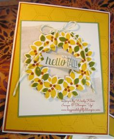 Stampin' Up! PP212, For All Things, Wondrous Wreath, Fall, Inked Emboss Stamping,