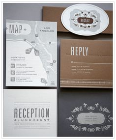 Wedding Invites Set / greys and brown / letterpress / map