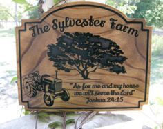 Custom Wood Family Farm Name Sign Bible Verse Plaque Religeous Tractor Farm Sign Ranch Christian Decor Religious Inspirational Verse Gift