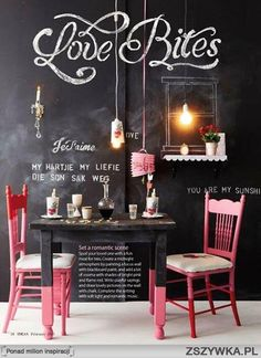 I adore the chalk walls. Great use of 'accent' color... love lighting and mirrors (of course). This would be an interesting addition on a back patio. (Covered of course) Where one could do homework, or play a game of chess with company.