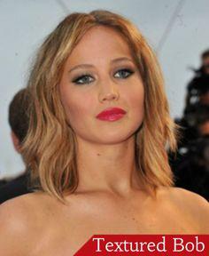 Short/Mid-length Hair for Fall: Textured Bob by Jennifer Lawrence. #fallhair #hairtends #bobhair