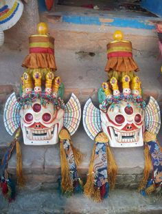 Wooden #Masks of Citipati #Handmade in Nepal. Citipati is one of the Dharmapalas, the protectors of Dharma. These masks are used for rituals in #Vajrayana tradition.