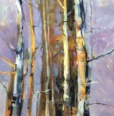 Abstract Aspen Tree Landscape Painting Merging by Intuitive Artist Joan Fullerton -- Joan Fullerton