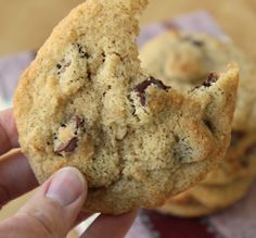 Almond Flour Chocolate Chip Cookies- gluten free if made with Enjoy Life chocolate chips. I also used coconut palm sugar instead of brown sugar.  Delicious