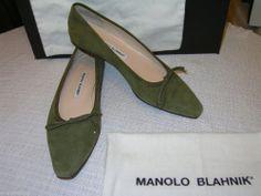 MANOLO BLAHNIK Suede SHOES Ballet Flats Loafers Ballerines 39.5 9.5 9 Green EXC! #ManoloBlahnik #LoafersMoccasins