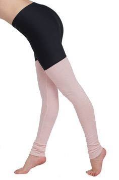 I grew up doing ballet and loved wearing warm knitted legwarmers. So we decided to make a hybrid legwarmer legging that you'll never want to take off.  The top