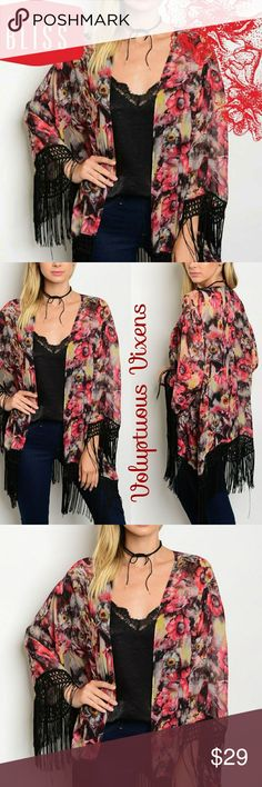 🍦Watercolor Floral Print Kimono w/ Fringe 💯% fresh Bohemian kimono wrap with fringe detailed hemline! Absolutely beautiful watercolor print fabric! Perfect festival wear! Looks great with denim shorts, skinnies or mini! All season ready! Thanks for looking out Happy Poshing! Lynnette Boutique Accessories Scarves & Wraps
