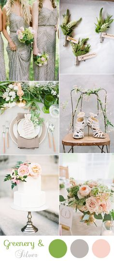 romantic silver and greenery neutral wedding colors for 2017