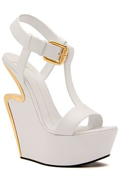 Giuseppe Zanotti White and Gold Wedge Sandal Spring 2015 #Shoes #Heels