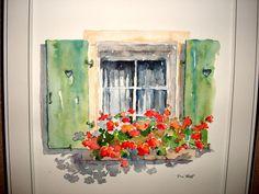 Aquarelle window. Flower.