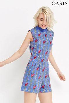 Oasis Blue Poppyfield Lace Trim Playsuit £48